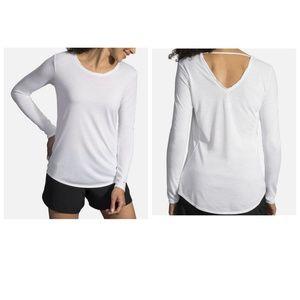 NWT Brooks Distance Long Sleeve Shirt Size M White